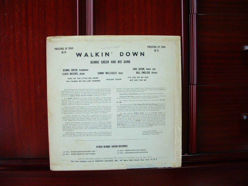 【オリジナル極美盤NM】BENNIE GREEN / Walking Down (DG,NYC,RVG,Prestige)_画像2